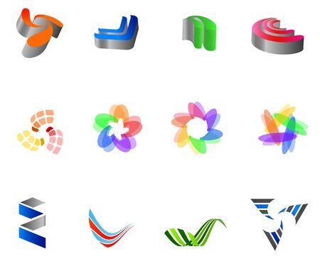 12 colorful symbols: (set 8) Vector