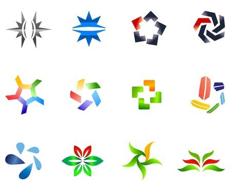 12 colorful symbols Vector