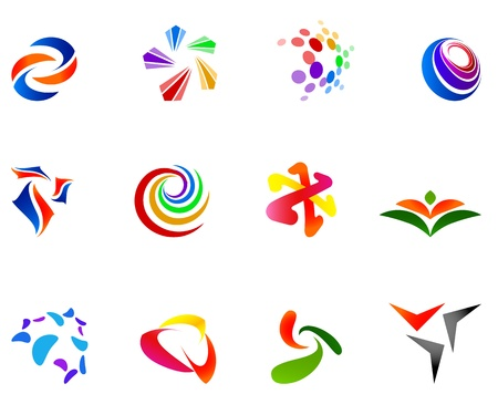 12 coloridos s�mbolos Vectores