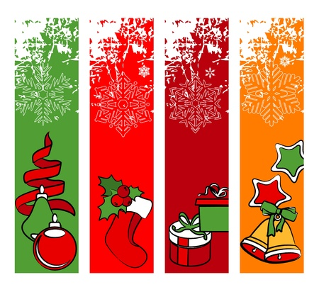 Four vertical winter banners Vector