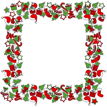 x mas card: Blank Christmas frame with traditional symbols