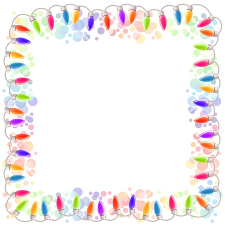 x mas party: Festive blank frame with garland Illustration