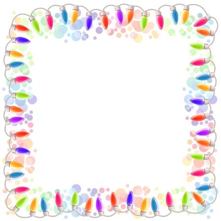 Festive blank frame with garland Illustration