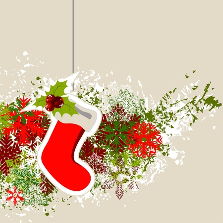 Hanging Santa sock with Christmas decorations Vector