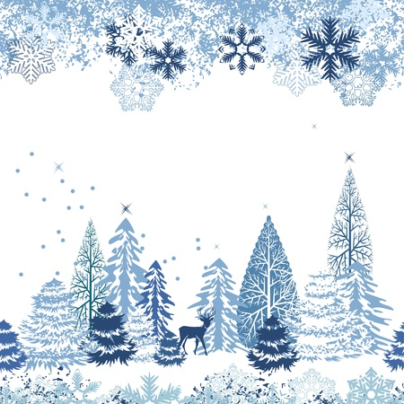 snowflake: Seamless pattern with winter forest Illustration