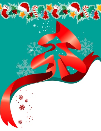 Christmas greeting card with red ribbon Vector