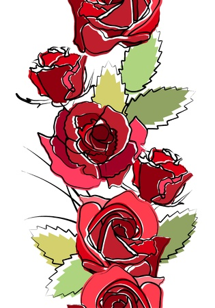 rosa: Seamless vertical border with red roses
