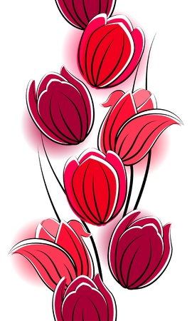 Seamless vertical border with red tulips Vector