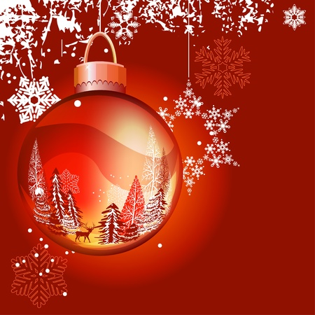 Christmas background with ball and snowflakes