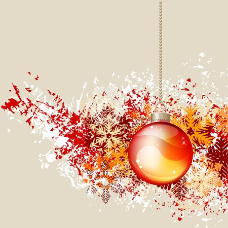 x mas card: Hanging Christmas ball
