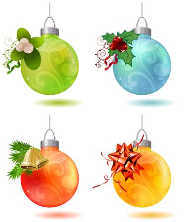 Different christmas glass balls Vector