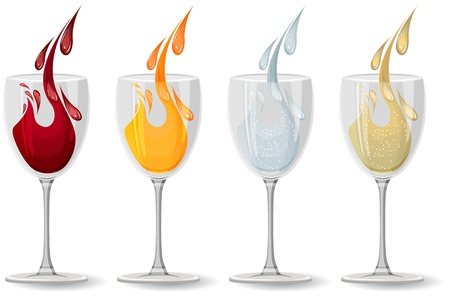 red wine pouring: Glasses with different drinks on white