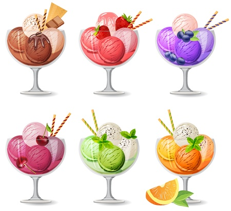 Set of realistic  icecreams on white Vector