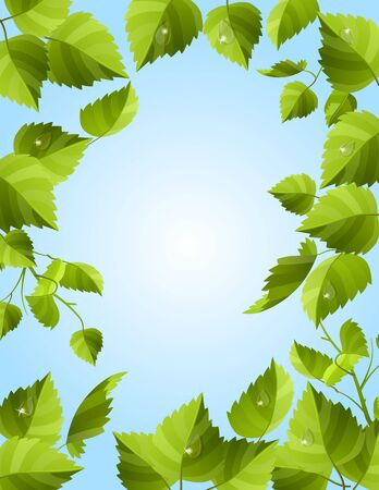 clip art draw: Frame with green leaves