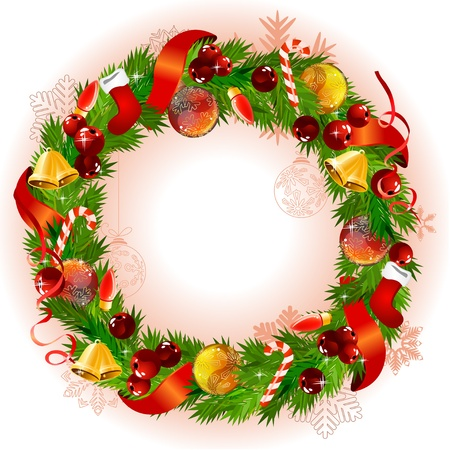 Christmas wreath with fir branches and balls Stock Vector - 10614943