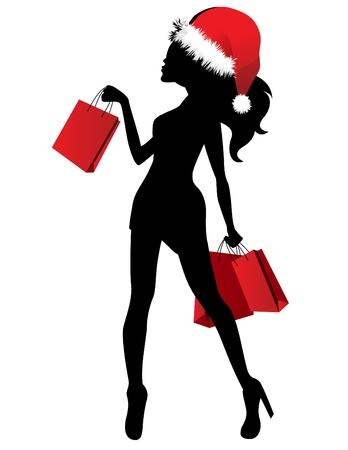 santa girl: Black silhouette of young woman