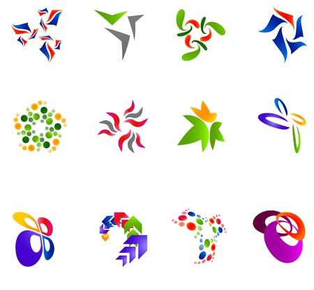 simple logo: 12 colorful symbols
