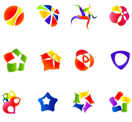 12 colorful symbols