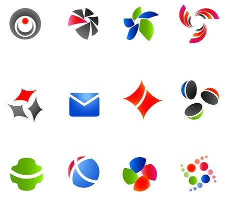 clip art draw: 12 colorful symbols