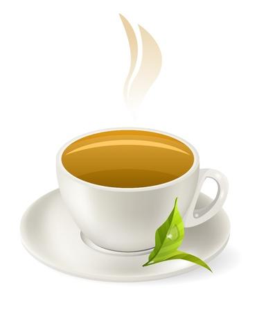 Cup of hot green tea Stock Vector - 10639796