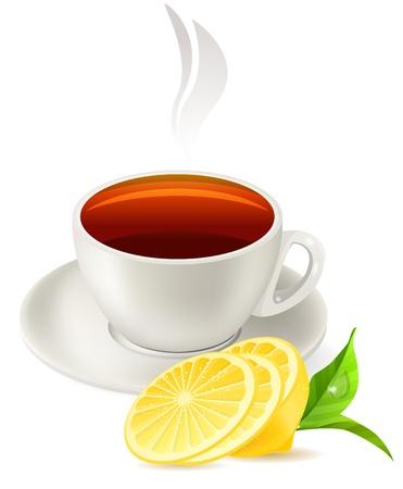afternoon: Taza de t� en el fondo blanco