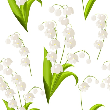 lily of the valley: Seamless floral pattern