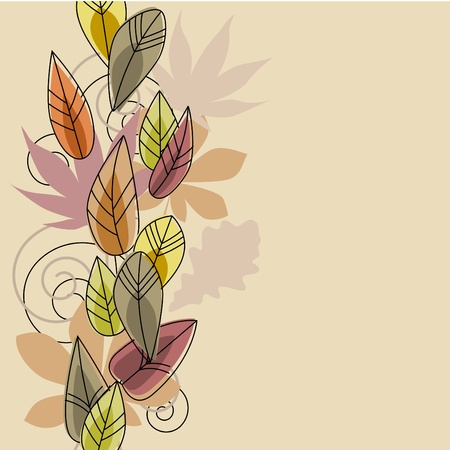 Beige background with stylized leaves Vector