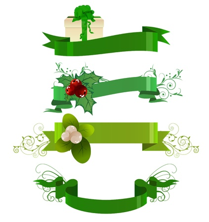 Set of green winter banners Vector