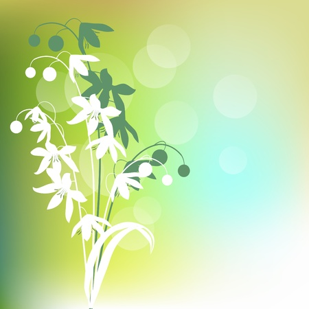 clip art draw: Green background with spring flowers