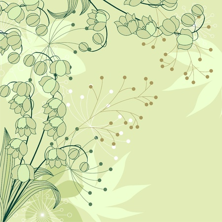 lily of the valley: Stylish floral light green background