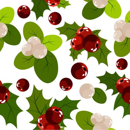 mistletoe: Seamless christmas pattern with holly berry
