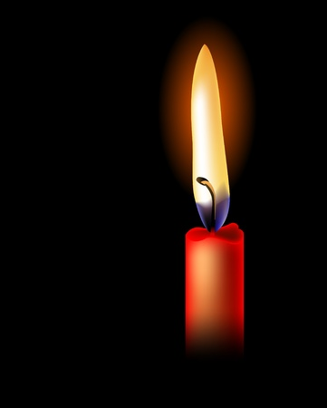 hope symbol of light: Realistic red candle isolated