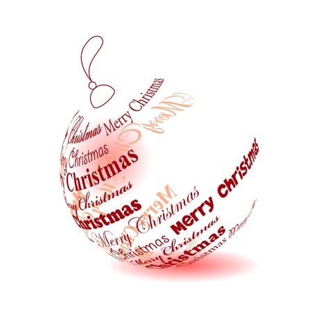 muerdago navide�  � �±o: Bolas de Navidad de la frase Feliz Navidad Vectores