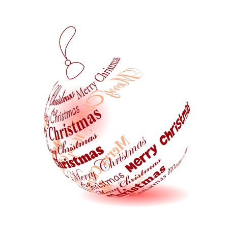 Christmas ball made of Merry christmas phrase Illustration