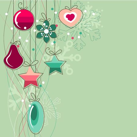 decorated christmas tree: Christmas background with stylized contour balls