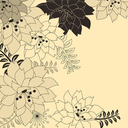 Stylish floral beige background Vector