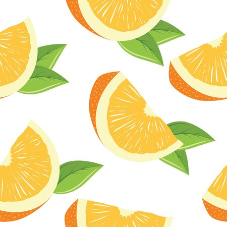 clip art draw: Seamless pattern with slices of orange