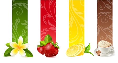 tropics: Set of different food banners Illustration
