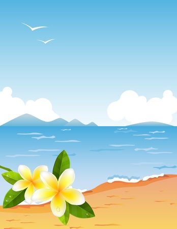 frangipani flower: Tropic beach with frangiapani Illustration