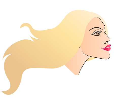 cosmetology: Woman face. Side view
