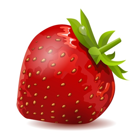 clip art draw: Ripe strawberry isolated