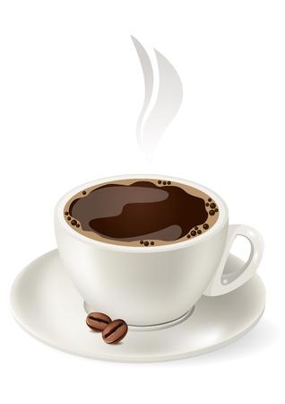 chicchi caff� su sfondo bianco: Tazza di caff� caldo.