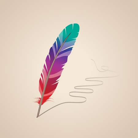 Many-coloured feather Illustration