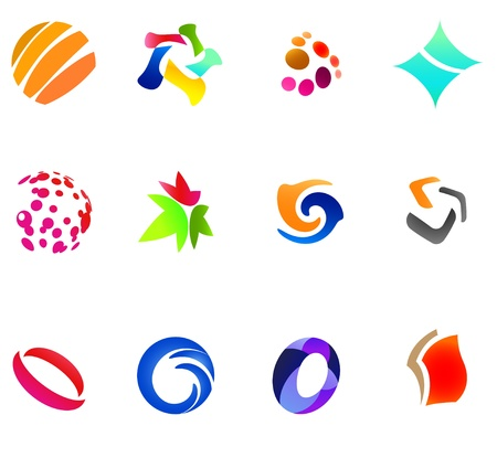 simple logo: 12 colorful vector symbols: (set 24)