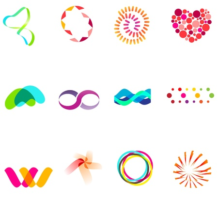 simple logo: 12 colorful vector symbols: (set 25)