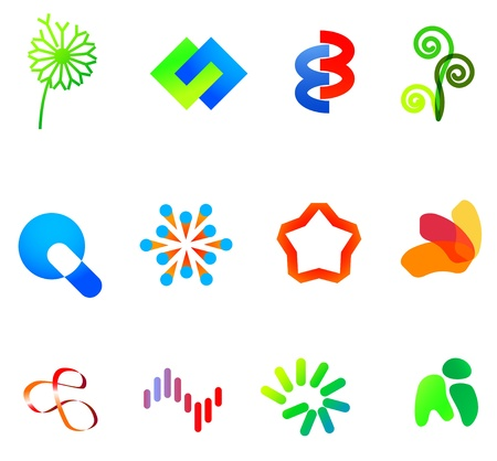 simple logo: 12 colorful vector symbols: (set 23) Illustration