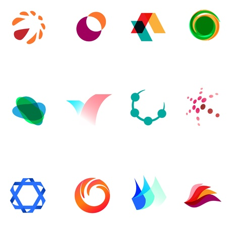 simple logo: 12 colorful vector symbols: (set 26)