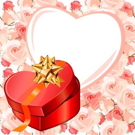 heartshaped: Heart-shaped frame and gift box