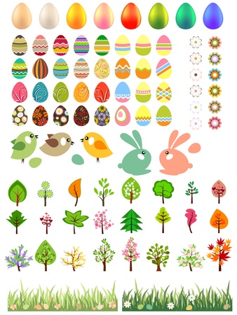 Big collection of different easter eggs and trees Vector