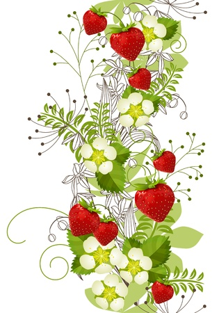 vertical lines: Seamless floral pattern with strawberries